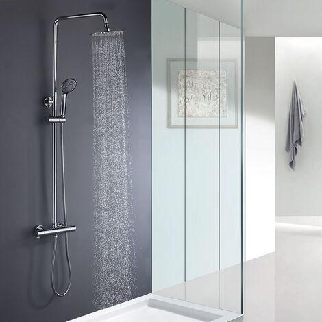 Columna de ducha redonda con grifo termostático y tubo extensible de 80 a 120 cm. ideal sin bañera. Rociador extraplano de 25 cm. de diámetro y ducha de mano para hidromasaje. Repuestos garantizados