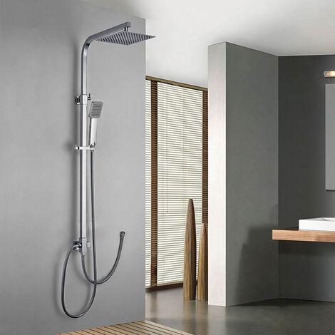 Columna de ducha SIN GRIFERÍA extensible de 80 a 120 cm. cuadrada extraplana. Se conecta a grifos de ducha estandar. Incluye desviador, 2 flexos de 60cm y 175cm, ducha de mano y rociador superior Kibath