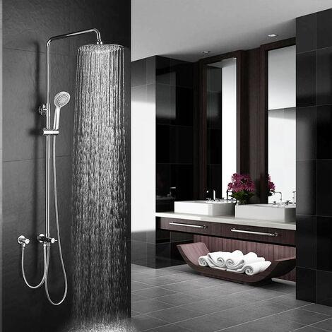 Columna de ducha SIN GRIFERÍA extensible de 80 a 120 cm. Se conecta a grifos de ducha estandar. Incluye desviador, 2 flexos de 60cm y 175cm, ducha de mano hidromasaje y rociador superior redondos Kibath