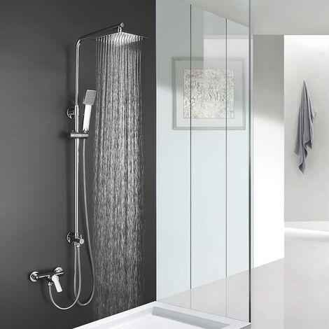 Columna de ducha SIN GRIFERÍA extensible de 80 a 120 cm. Se conecta a grifos de ducha estandar. Incluye desviador, 2 flexos de 60cm y 175cm, ducha de mano y rociador superior diseño cuadrado Kibath