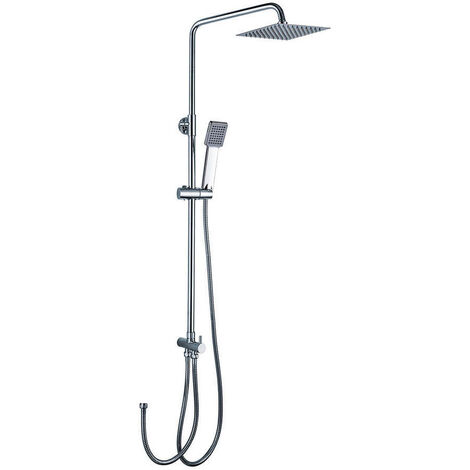 Columna de ducha SIN GRIFERÍA extralarga extensible de 100 a 150cm AZ. Se conecta a grifos de ducha estandar. Incluye desviador, 2 flexos de 60 y 175cm, ducha mano y rociador superior diseño cuadrado Kibath