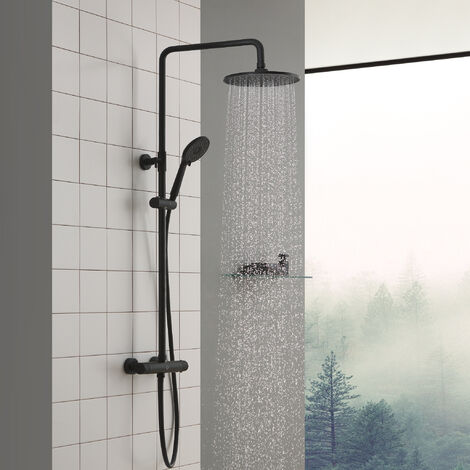 Columna de Ducha Termostática 38 °C Conjunto de Ducha Redondo Altura Ajustable 850mm-1200mm Ducha de Lluvia y Ducha de Mano 4 Funciones para Baño