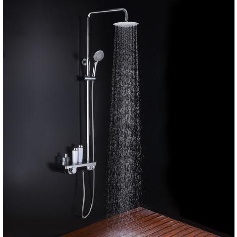 Columna de ducha termostática ART Round, tubo redondo extensible de 82 a 126cm. Grifo termostático con repisa cristal. Ducha de mano hidromasaje y rociador superior redondos. Recambios garantizados Kibath