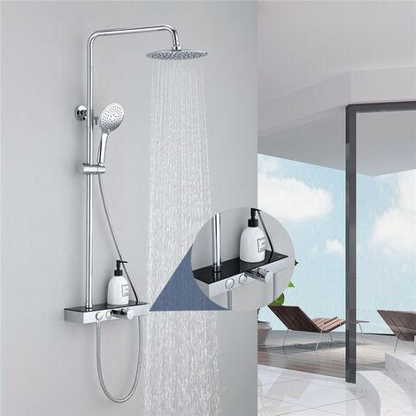 Columna de ducha termostática con plato de almacenamiento negro Columna de ducha con desviador Juego de ducha ajustable en altura