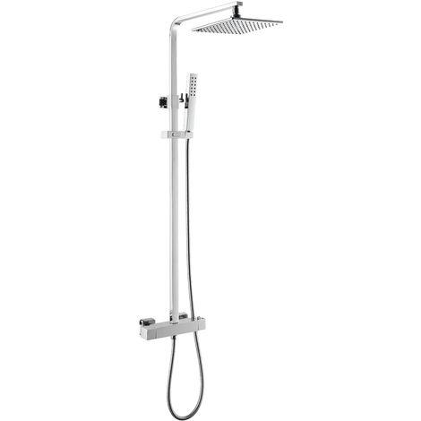 Columna de ducha termostática de latón con acabado cromado
