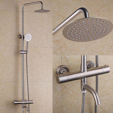 Columna de ducha termostática en acero inoxidable y níquel cepillado con caño de baño