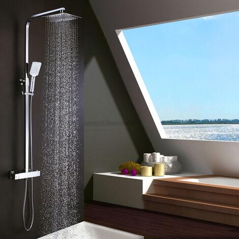 Columna de ducha termostática EXTRAPLANA de diseño cuadrado. Regulable en altura de 80 a 120cm, con grifo, rociador 25x25cm y mango de ducha cuadrados. Acabados cromo brillo. Repuestos garantizados Kibath