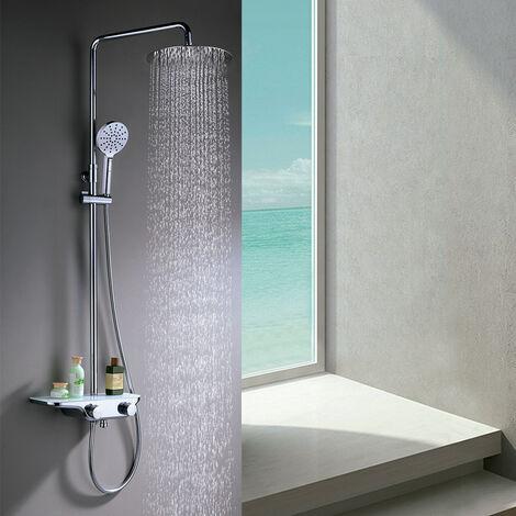 Columna de ducha termostática FER para ducha y bañera con grifo termostático con repisa de cristal. Tubo extensible de 90 a 124cm. Rociador superior y ducha de mano redondos. Recambios garantizados Kibath
