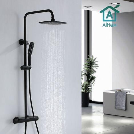 Columna de ducha termostática Juego de ducha negro con estante pequeño Cojunto de ducha con mezclador termostático de 38 ℃ Altura ajustable