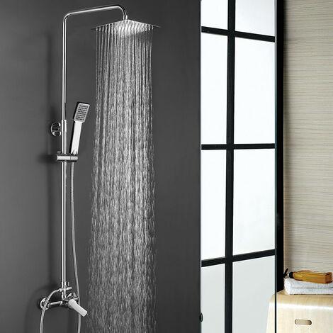 Columna de ducha termostática MAR BLUETOOTH para escuchar música y llamadas. Tubo extensible de 80 a 120 cm. Ducha de mano hidromasaje. Acabados en blanco y cromo brillo. Recambios garantizados Kibath