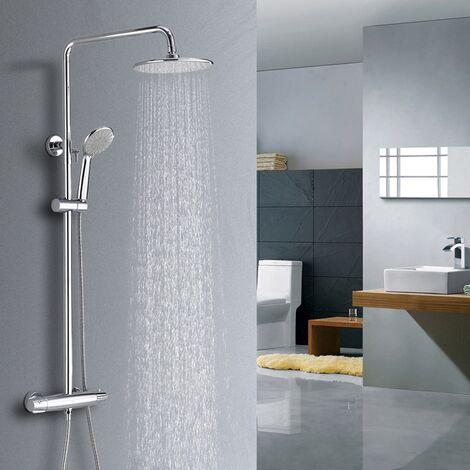 Columna de Ducha Termostática Set de ducha con 3 chorros de agua Sistema de ducha Grifo mezclador en latón cromado