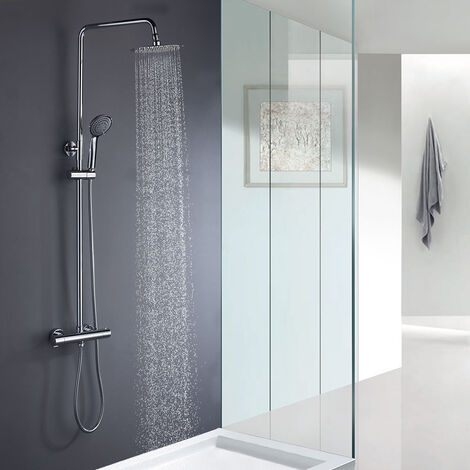 Columna de ducha termostática TACTO FRÍO que evita quemaduras. Tubo extensible extralargo de 100 a 150 cm. con ducha hidromasaje redonda con acabados en cromo brillo. Recambios garantizados