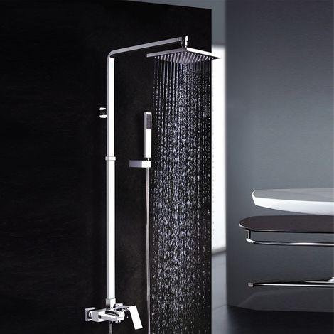 Columna de ducha y bañera forma cuadrada acabado cromo