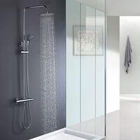 Columna ducha termostática redonda duchon 25cm. Con grifería termostática, tubo telescópico y acabado en cromo brillo.