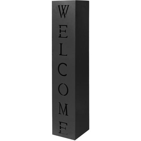 Columna Negro Decoración Antorcha Letrero Metal Entrada Casa Hogar Welcome
