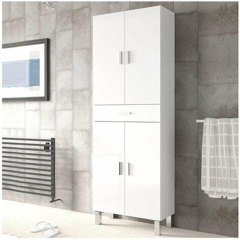 Columna para baño de 4 puertas y 1 cajón. Color Blanco
