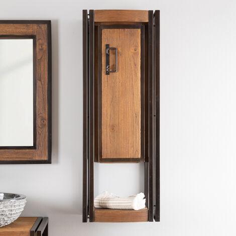 Columna suspendida para cuarto de baño Elegancia teca metal 110 cm