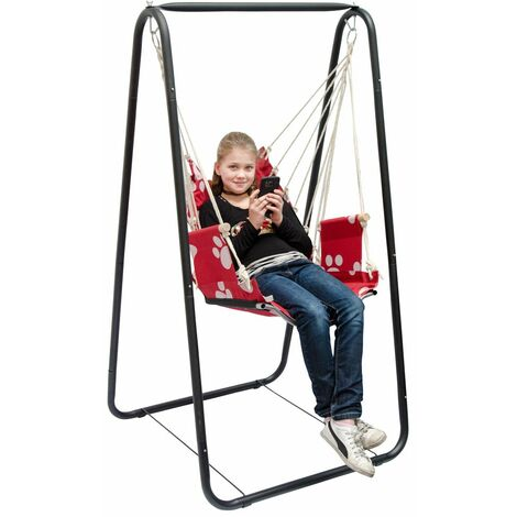 Columpio AMANKA completo silla y soporte   Marco metálico con sillón  Columpio con reposabrazos y soporte por las espaldas   Para niños y adultos   para el interior / exterior   Rojo con huellas