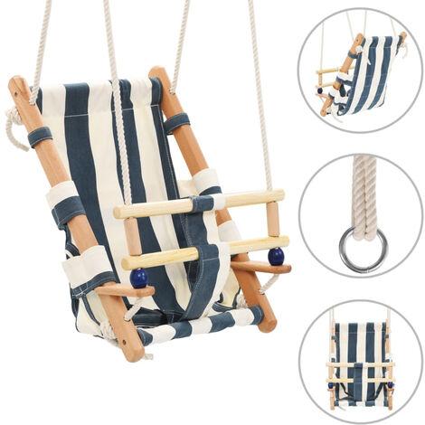 Columpio de bebe con cinturon de seguridad algodon madera azul