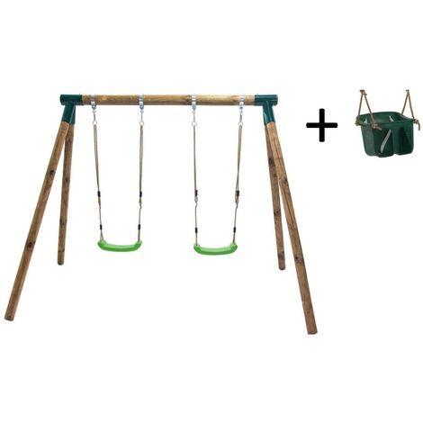 Columpio de madera doble Masgames KADI con asiento bebé