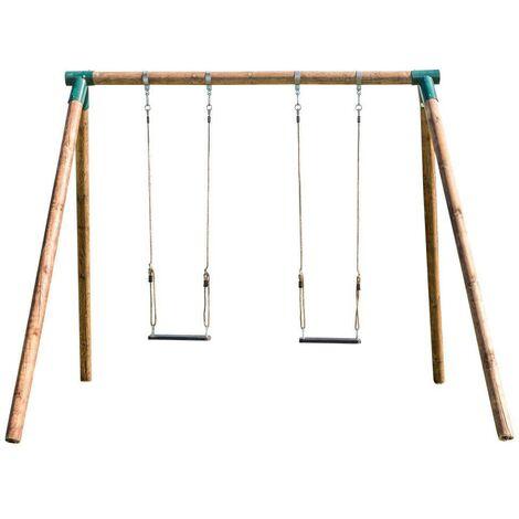 """main image of """"Columpio de madera doble para adultos Masgames FUJI asientos caucho con cuerdas"""""""