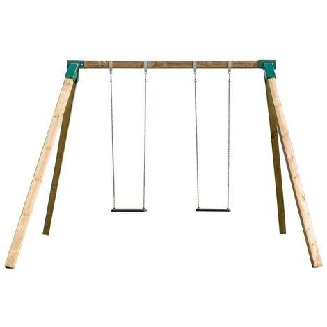 "main image of ""Columpio doble de madera cuadrada Karai Deluxe para adultos asientos de caucho con cadenas"""