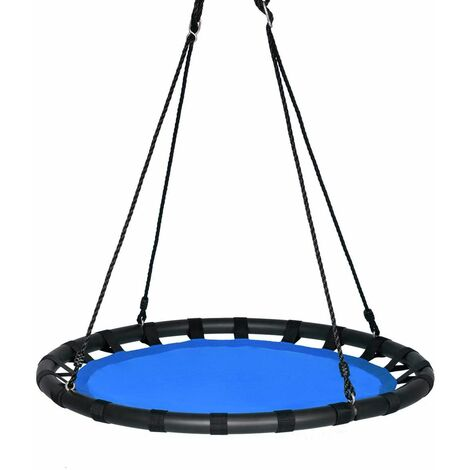 """main image of """"Columpio Nido de Ø100cm Columpio Redondo 100-160cm Cuerda Ajustable Carga hasta 150kg para Interior y Exterior Jardín Parque Azul"""""""