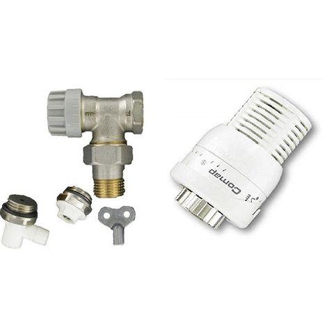 """main image of """"COMAP Kit Complet Robinet et Tête thermostatique Senso 1 et accessoires (raccord de réglage, purgeur, robinet de vidange) pour radiateur - M28 - équerre 1/2"""" ou 15/21 - S630682"""""""