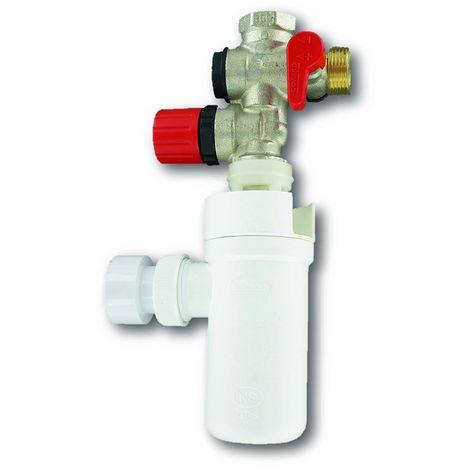 """main image of """"COMAP Kit groupe de sécurité laiton droit pour chauffe-eau, cumulus - 20x27 ou 3/4"""" (Groupe de sécurité, siphon, flexibles, téflon) - S600505"""""""