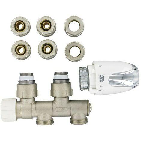 """COMAP Kit thermostatique de raccordement universel pour robinetterie intégrée + tête thermostatique - F 1/2"""" (15x21) - S632781"""