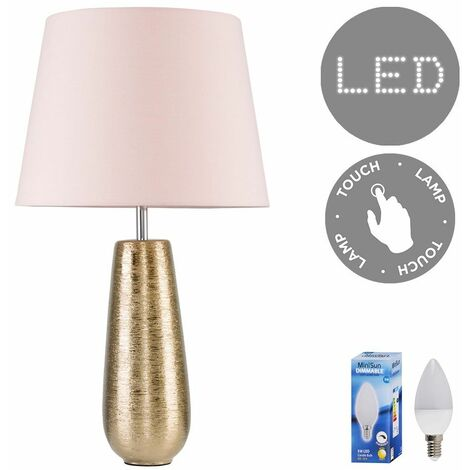 Combed Gold Ceramic Touch Table Lamp Bedside Lighting Shades LED Bulb - Beige - Gold