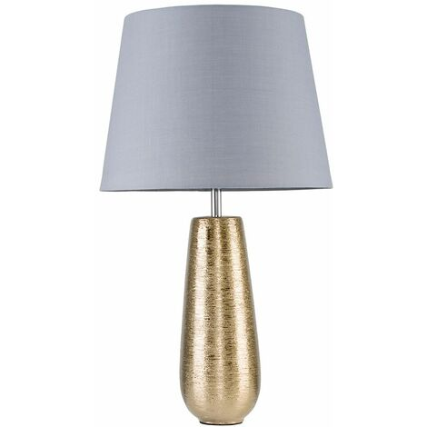 Combed Gold Ceramic Touch Table Lamp Bedside Shades - Grey - Gold