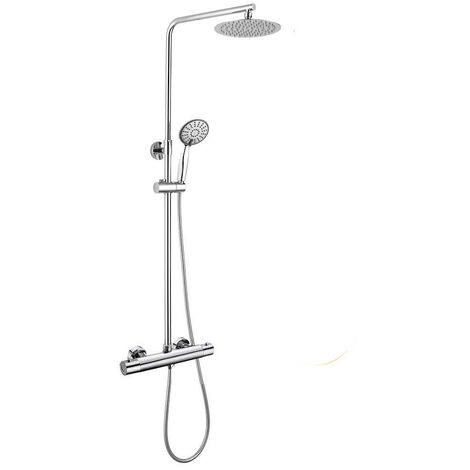 Columna de ducha con tubo redondo extensible de 80 a 120 cm. y grifería termostática con desviador integrado. Ducha de mano para hidromasaje y rociador superior redondos. Recambios garantizados Kibath