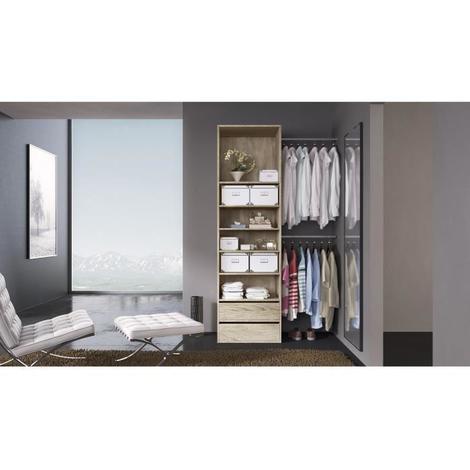 COMBI Kit dressing 1 colonne + 2 barres de penderie contemporain décor chene clair - L 116 cm Generique