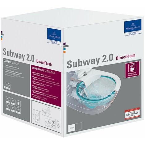 Combi-Pack WC Villeroy &amp Boch Subway 2.0, DirectFlush, Coloris: Céramique blanche plus - 5614R2R1