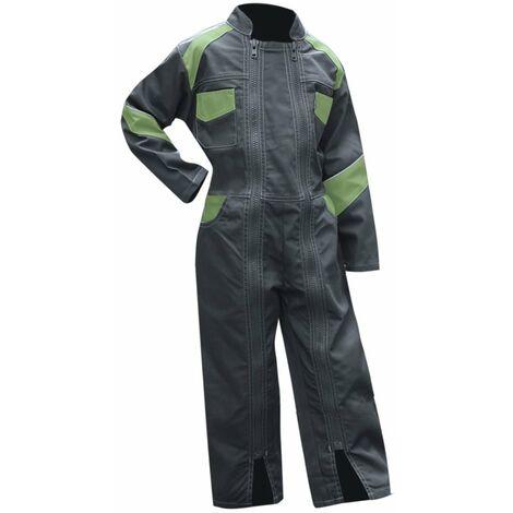 Combinaison 2 zips bicolore enfant - FLEUR - Gris / Vert