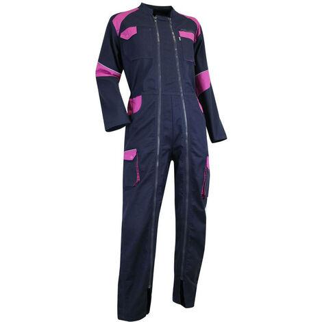 Combinaison de travail double zip Rapido Bicolore Femme ORGE LMA Bleu Foncé / Rose