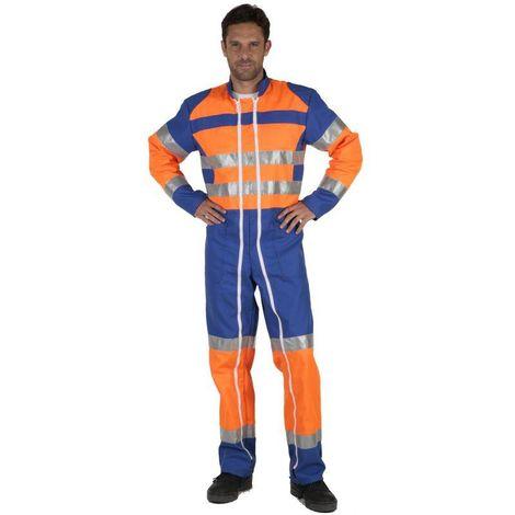 FLUOPRO Combinaison de travail homme haute visibilité 2 zip Orange/Bleu bugatti - T. 6 - MDH