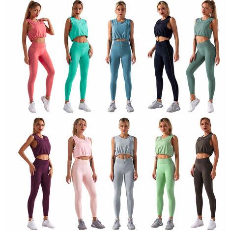 Combinaison De Yoga Femme Deux Pieces, Gilet Sans Manches + Pantalon Extensible Taille Haute, Noir, Taille M