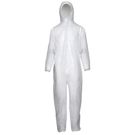 Combinaison jetable PP,50 g/m2,Taille L, blanc