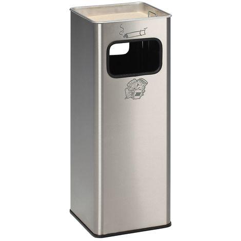 Combiné cendrier-poubelle avec cendrier à remplir de sable - h x l x p 665 x 260 x 260 mm - poids 7 kg - Coloris poubelle: acier inoxydable