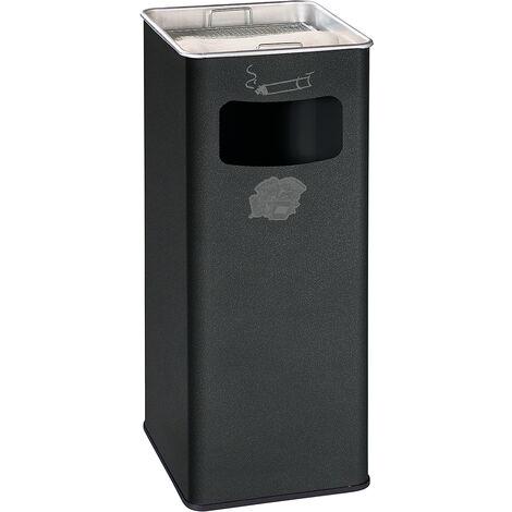Combiné cendrier-poubelle avec cendrier à remplir de sable - h x l x p 705 x 330 x 330 mm - argent