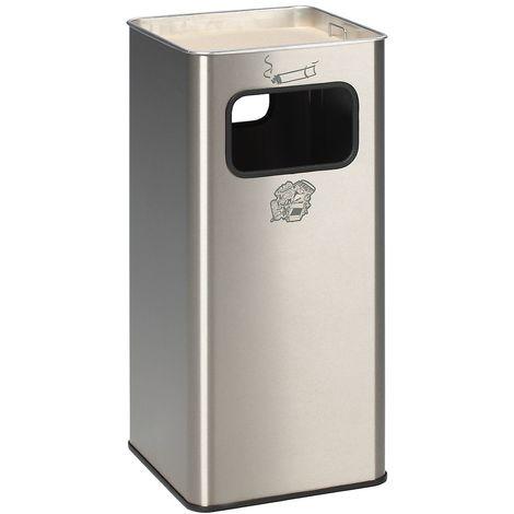 Combiné cendrier-poubelle avec cendrier à remplir de sable - h x l x p 705 x 330 x 330 mm - poids 10 kg - Coloris poubelle: acier inoxydable