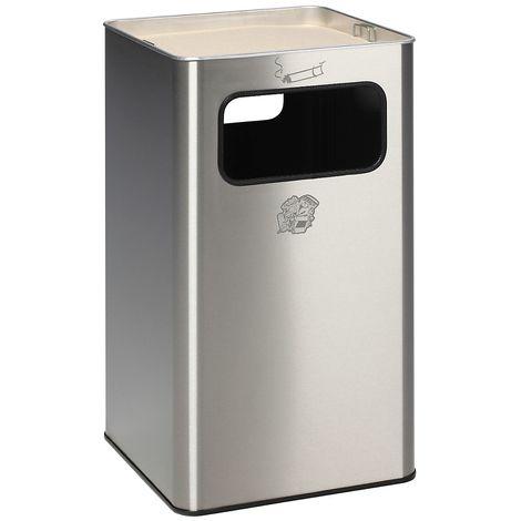Combiné cendrier-poubelle avec cendrier à remplir de sable - h x l x p 755 x 430 x 430 mm - poids 14 kg - Coloris poubelle: acier inoxydable