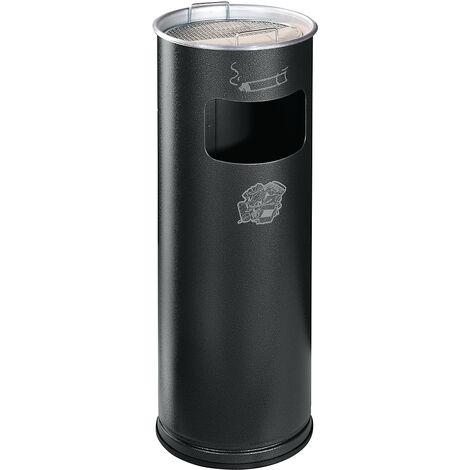 Combiné cendrier-poubelle avec cendrier à remplir de sable - hauteur 660 mm, Ø 230 mm - argent