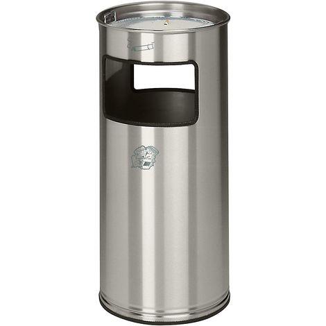 Combiné cendrier-poubelle avec cendrier à remplir de sable - hauteur 700 mm, Ø 320 mm - accès sur 2 côtés - Coloris poubelle: acier inoxydable