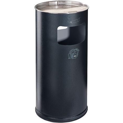 Combiné cendrier-poubelle avec cendrier à remplir de sable - hauteur 700 mm, Ø 320 mm - argent