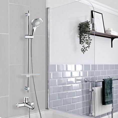 Combiné Colonne bain douche barre et douchette chromé 5 jets robinet mitigeur de baignoire