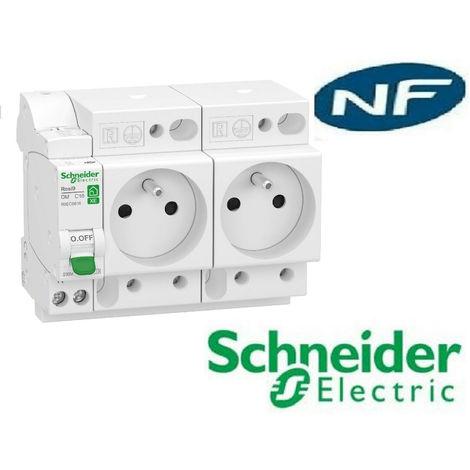 Combiné disj + 2 prises courant Resi9XE embrochable 1P+N 16A CourbeC - Schneider Electric