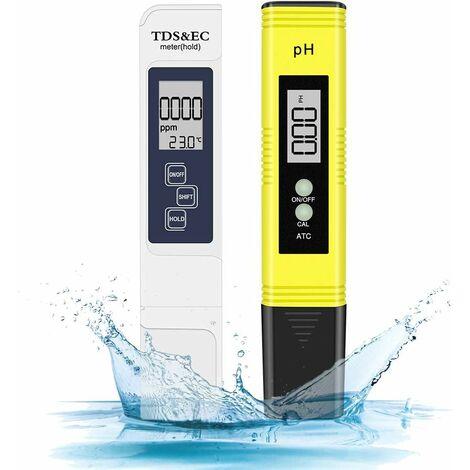 Combiné pH-mètre numérique et TDS, testeur de pH 0,05ph avec une haute précision +/- 2% de précision de lecture Testeur TDS, testeur de qualité de l'eau pour eau potable / piscine / aquarium / piscines (Blanc)